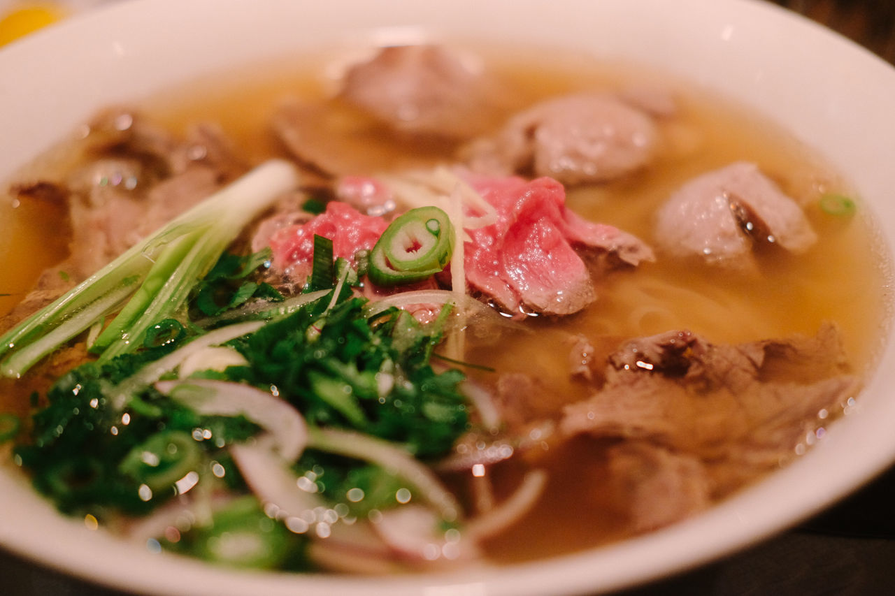 meat pho Close-up Food Food And Drink Freshness Healthy Eating Indoors  Meal Meat No People Plate Ready-to-eat Red Meat Scallion Serving Size