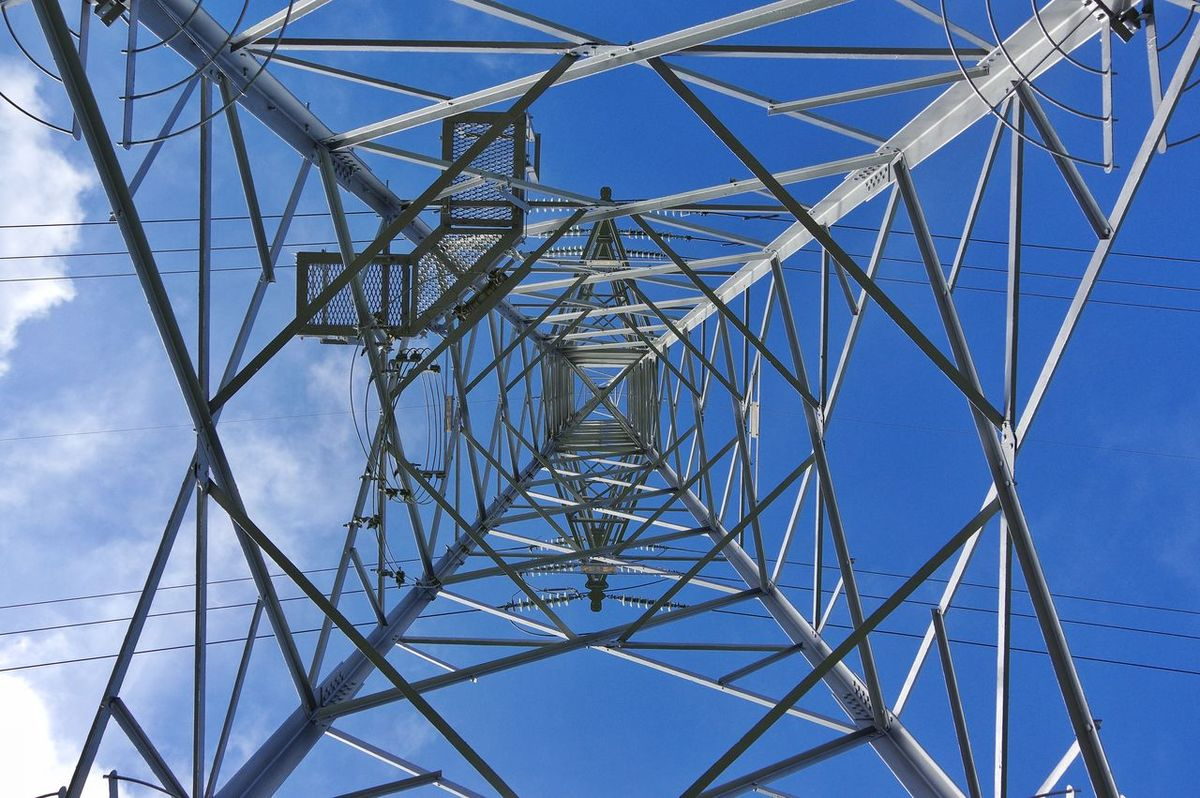 Electricity Pylon Minimalism Photography Pattern Connection Cable Sky Blue Symmetry Electricity  Full Frame Steel Above Vertical View Outdoors Day