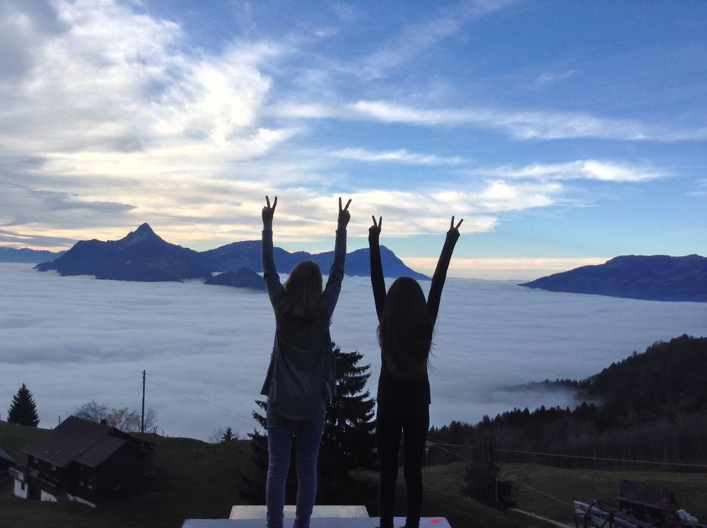Fog Mountains Switzerland Swiss Alps Friendship Friends Girls Peace Valley Nature