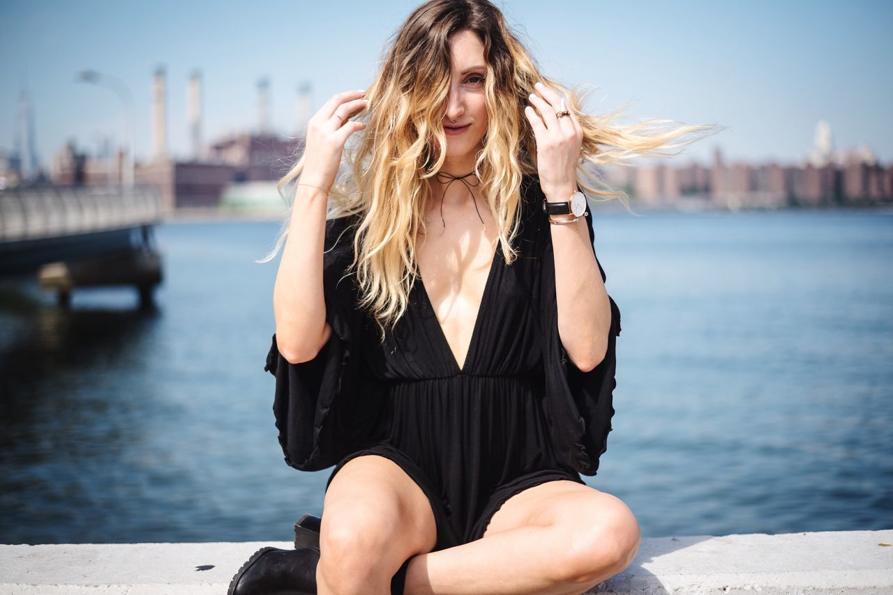 Focus On Foreground Water Blond Hair Young Adult One Person Sitting Leisure Activity Outdoors Young Women Day Beautiful Woman Sea Nautical Vessel Real People Harbor Sky Adult People NYC Model Photographer Fashion Photooftheday Lifestyles Arts Culture And Entertainment