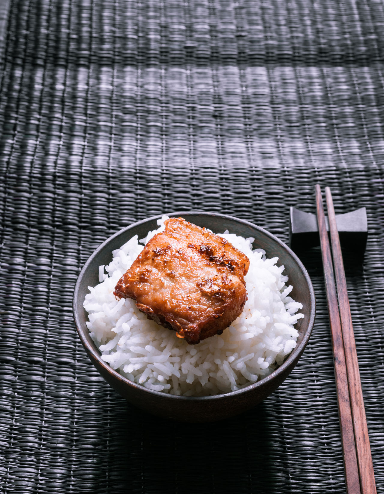Asian Culture Asian Food Backdrop Background Bowl Close-up Food Food And Drink Freshness Indoors  Meat No People Plate Pork Rice