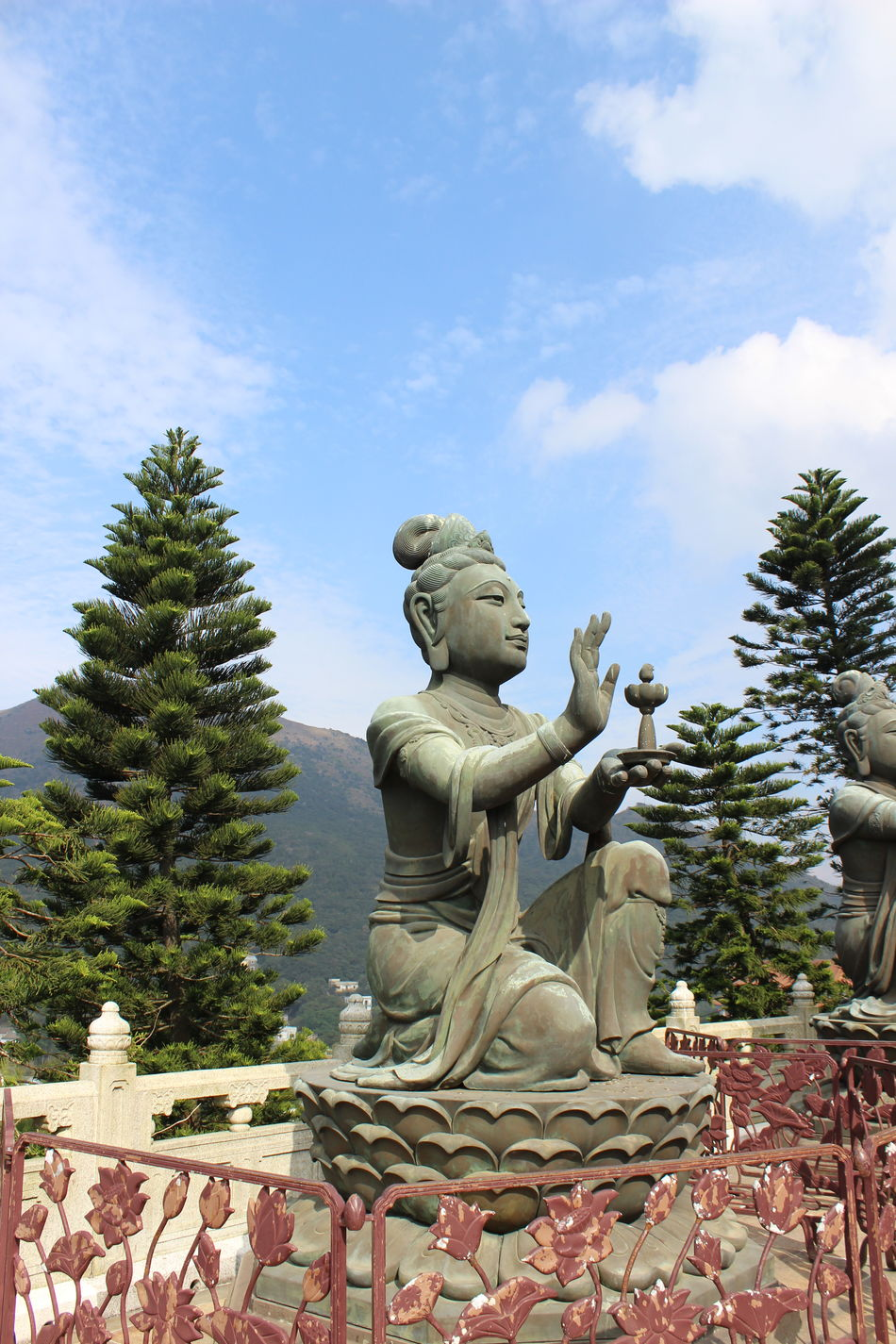 Statue Religion Art And Craft Tree Sculpture No People Cultures Tranquility Place Of Worship Outdoors Day Tian Tan Buddha (Giant Buddha) 天壇大佛 Beauty In Nature Architecture HongKong Travel Destinations Travel Photography Statue Cloud - Sky Blue