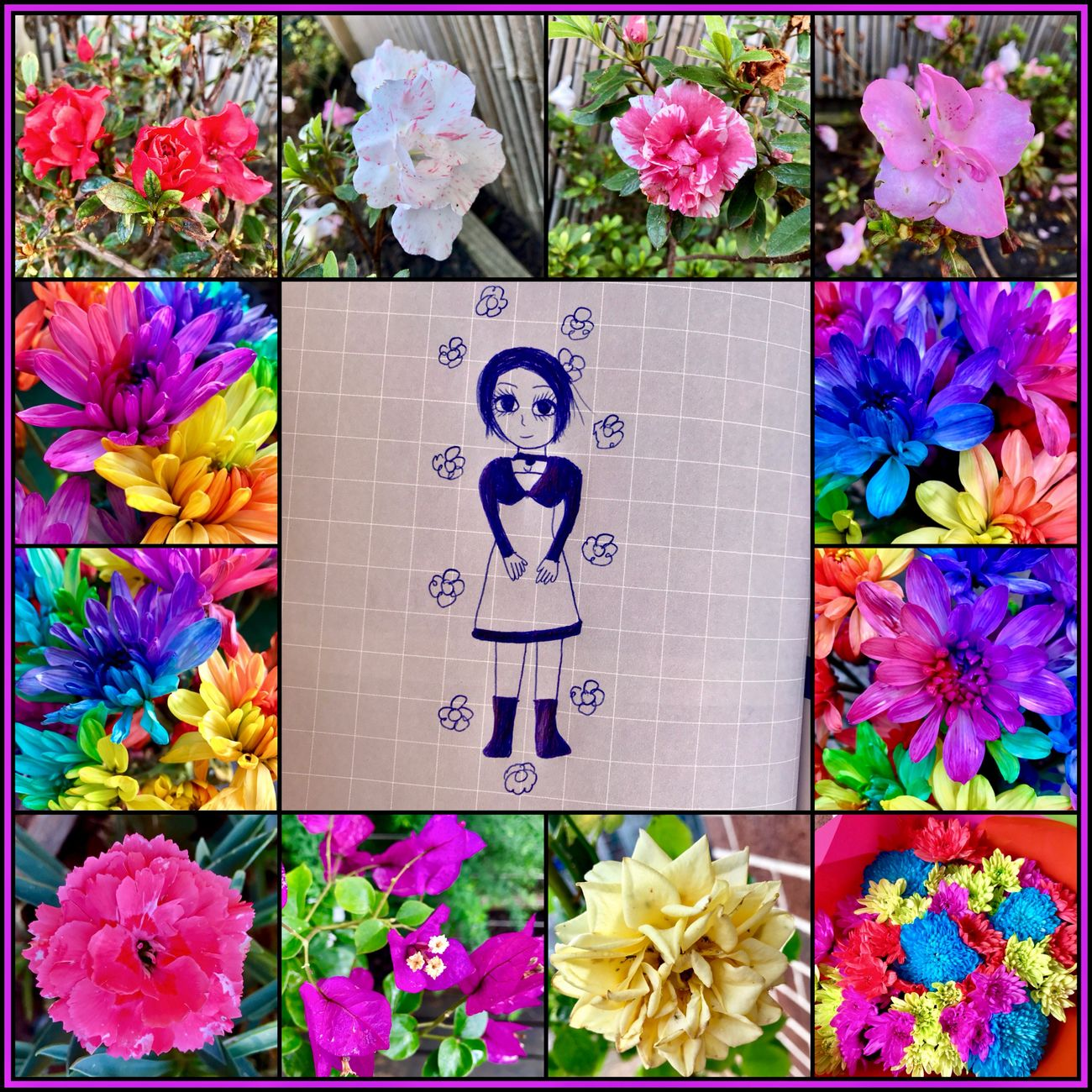 Combining art and flowers 🖊🌺💐🍃🖊 Flowers Flowerocollage Flowers Of EyeEm EyeEm Gallery Drawing Sketching Art Girl Eyeem Art 🖊🍃🌺💐🖊