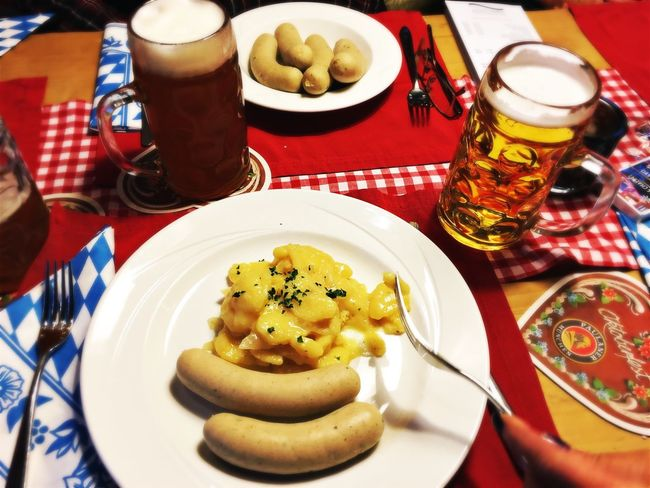 Food And Drink Plate Table Food Indoors  Freshness Ready-to-eat Indulgence Serving Size Meal Close-up Temptation Unhealthy Eating Dessert Appetizer Food Styling Dinner Serving Dish Tray Wurst Weisswurst Bayern Germany Kartoffelsalat