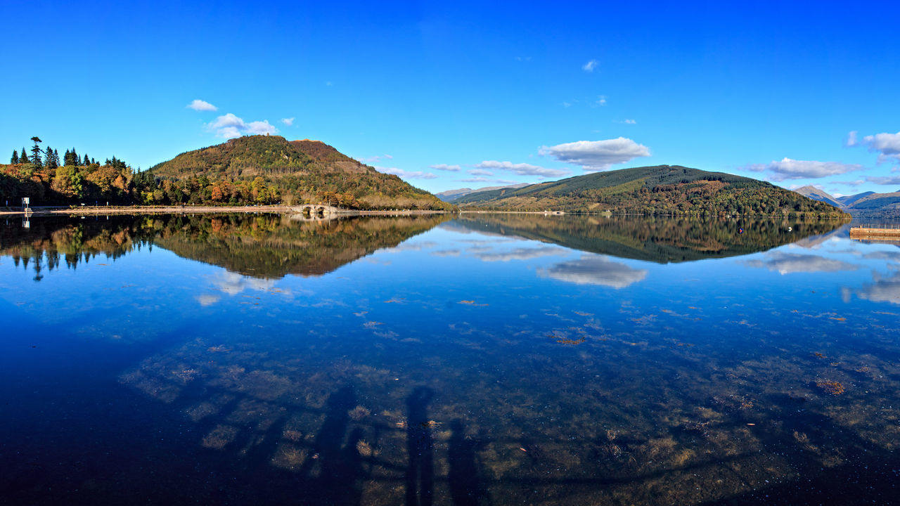 Blue skies over Loch Fyne at Inveraray. Argyll Landscape Loch Fyne Lochs Panorama Reflections Scotland Water