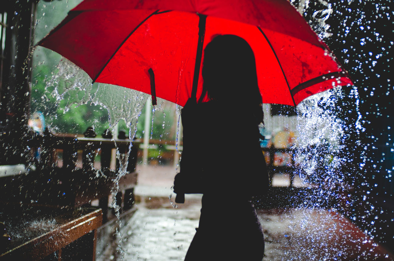 Adult Adults Only Below Day Holding One Person Outdoors People Protection Rain RainDrop Rainfall Rainy Season Real People Red Standing Umbrella Water Weather Wet