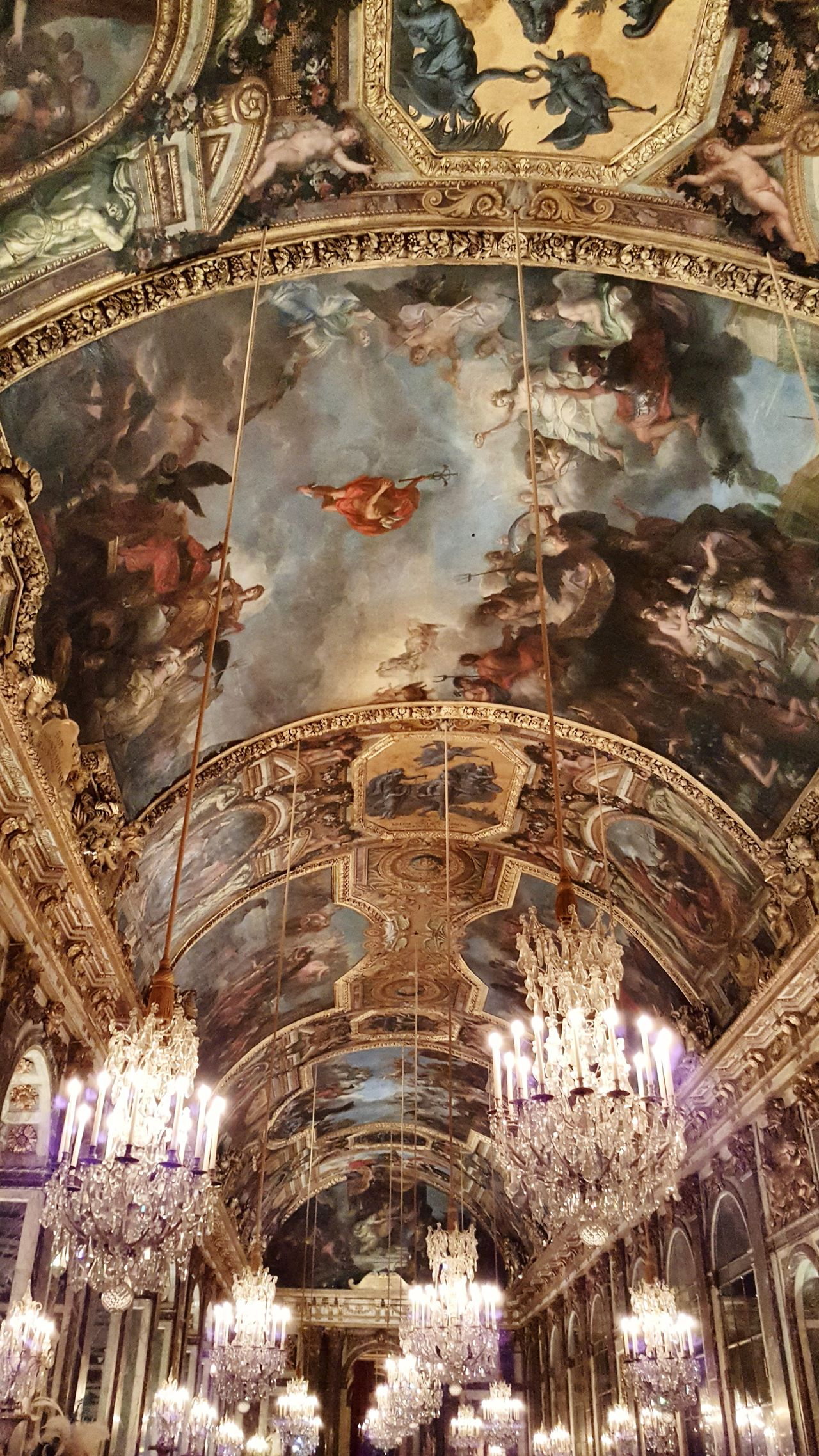 Low Angle View Indoors  Backgrounds Illuminated Full Frame No People Ceiling History Night Versailles Castle Fêtes Galantes Luxury Rococo 18th Century Style Rococo At Night Architecture The Hall Of Mirrors Hall Of Mirrors Chandeliers Chandelier Light Chandelier Lighting Equipment Arch Travel Destinations