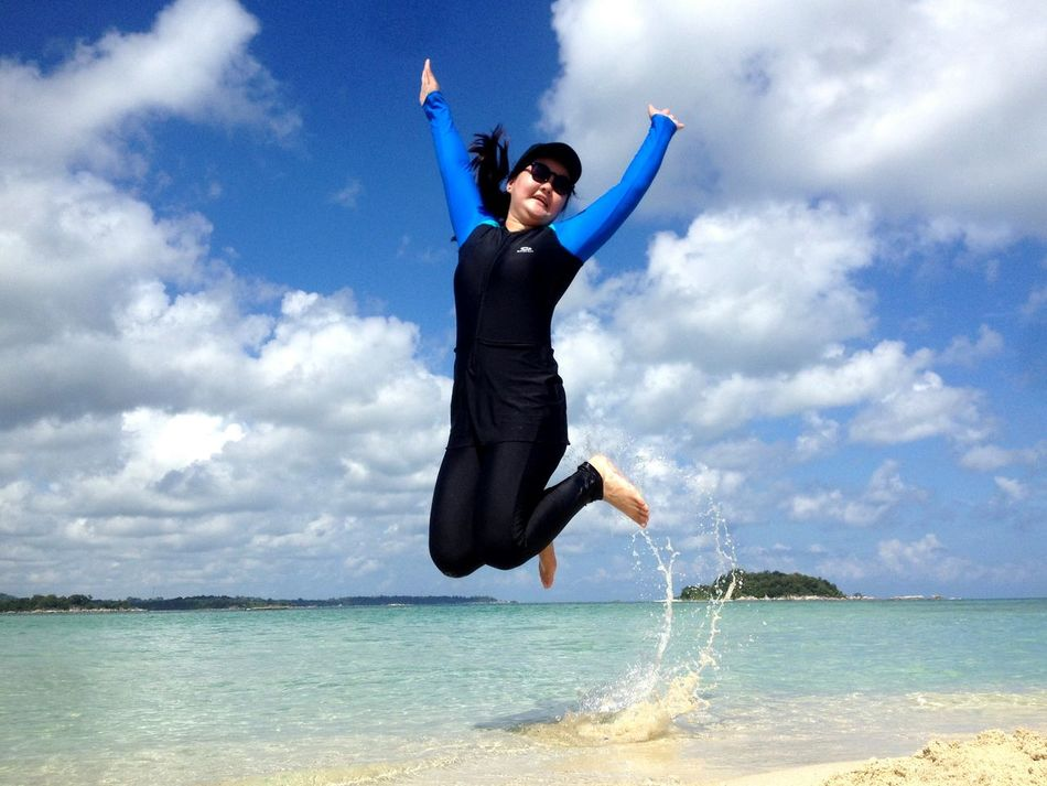 Summer Travelling Island, Indonesia is best destination for your summer vacation. Very beaches, clean and beautiful. Cloud - Sky Beach Jumping Sea Sky Outdoors Beauty In Nature Travel Destinations Tourism Vacations Water Beauty Nature Landscape Island Enjoyment EyeEm Best Shots Travel Tropical Climate EyeEm Best Shots - Sunsets + Sunrise Wonderful Place Wonderful World Full Length Full Frame Standing
