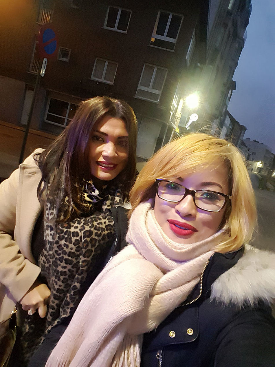 Hanging Out Friendship Togetherness Warm Clothing Outdoors Smiling Winter Day City Selfie Bonding My Sister & I Golden Sisterlove Cellphonephotographs