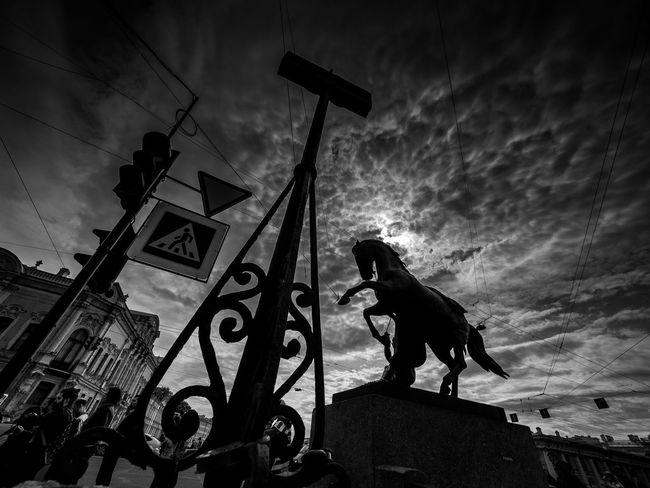 Russia, St. PETERSBURG, horses, Anichkov bridge sculptures Klodt St. PETERSBURG Russia Built Structure Cloud Cloud - Sky Cloudy Day Horse Lifestyles Nature Outdoors Sky Travel Destinations Weather