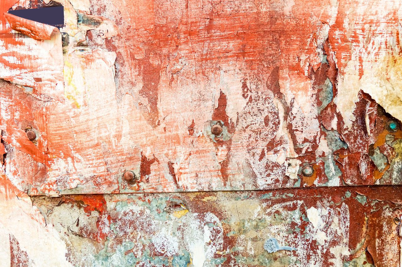 textured, rough, weathered, metal, full frame, day, close-up, no people, backgrounds, paint, architecture, built structure, outdoors