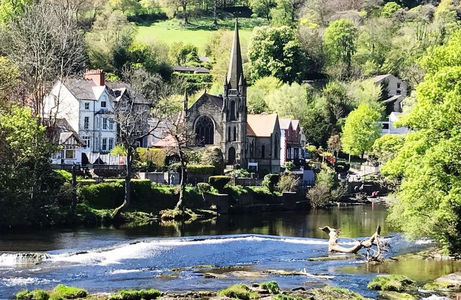 Water Architecture Day Tree Built Structure Reflection Building Exterior Outdoors River Animal Themes Sunlight Nature No People Watermill Bird Riverside River View Church Spring Springtime Wales Llangollen