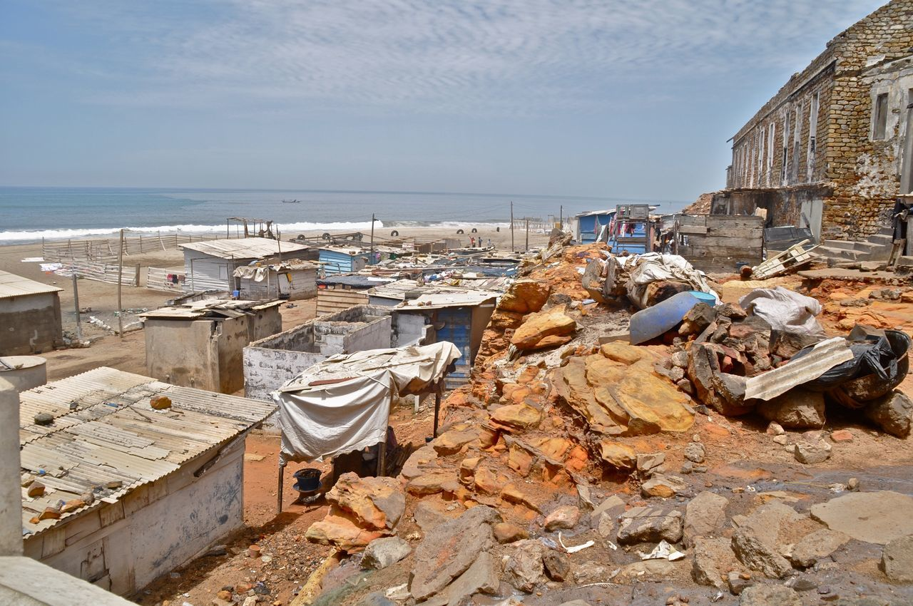 Accra Beach Corrugated Metal Developing Country Dwelling Ghana Hut Huts Outdoors Pollution Poor People  Poor Places Poverty Ribbed Roof Shanty Shelter Slum Slums Waste West Africa Environmental Issues Ruin Ruined Building