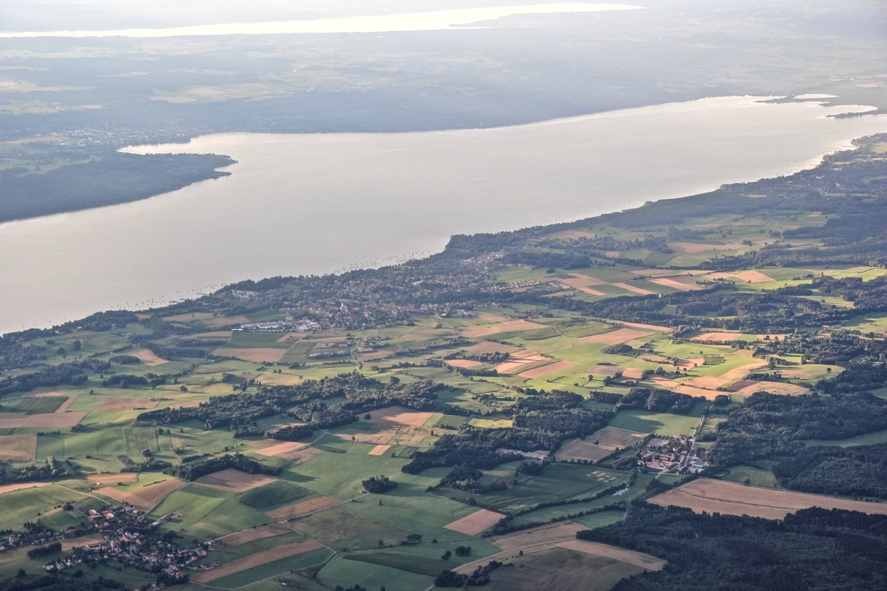 My Bavaria Germany Adventure Relaxing Light And Shadow Lake Lake View Over The Ground Bavaria Ammersee Tranquility Landscape Hot Air Ballooning Aerial Shot Scenic View Landscapes Meditation Nature Aerial View On The Way Fine Art Photography Remote Scenics