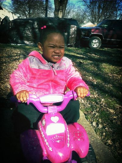 My Niece Coolin' Outside On Ha 4Wheeler