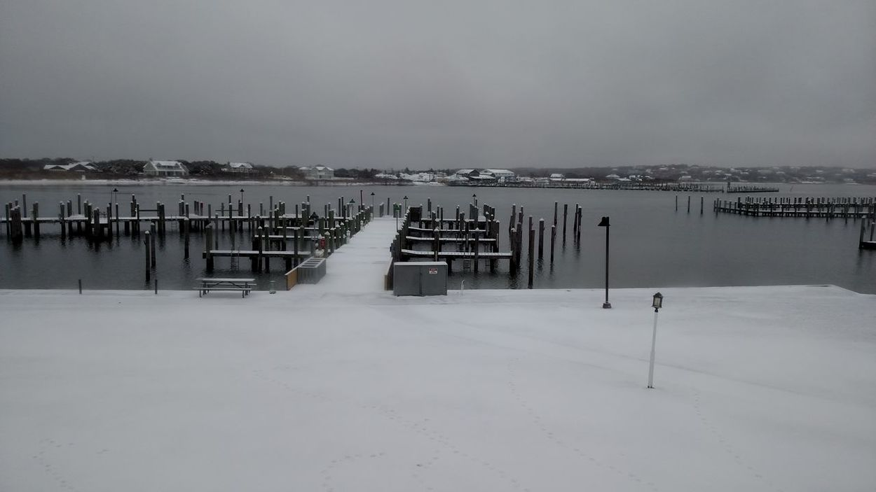 Snow Cold Temperature Winter Nature Landscape Environment No People Beauty In Nature Outdoors Snowing Winter Dock Dockside Dock Marina Marina In Winter Montauk, NY Montauk Yatch Club Vacant Marina Winter Morning Winter Landscape Winterscapes Wintertime Snow Covered Dock After The Snow Fall After The Snowfall