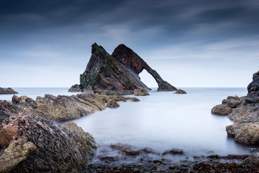 Bow Fiddle Rock Bow Fiddle Rock, Scotland Beach Beauty In Nature Day Horizon Over Water Nature No People Outdoors Rock - Object Rock Formation Scenics Sea Sky Tranquil Scene Tranquility Water