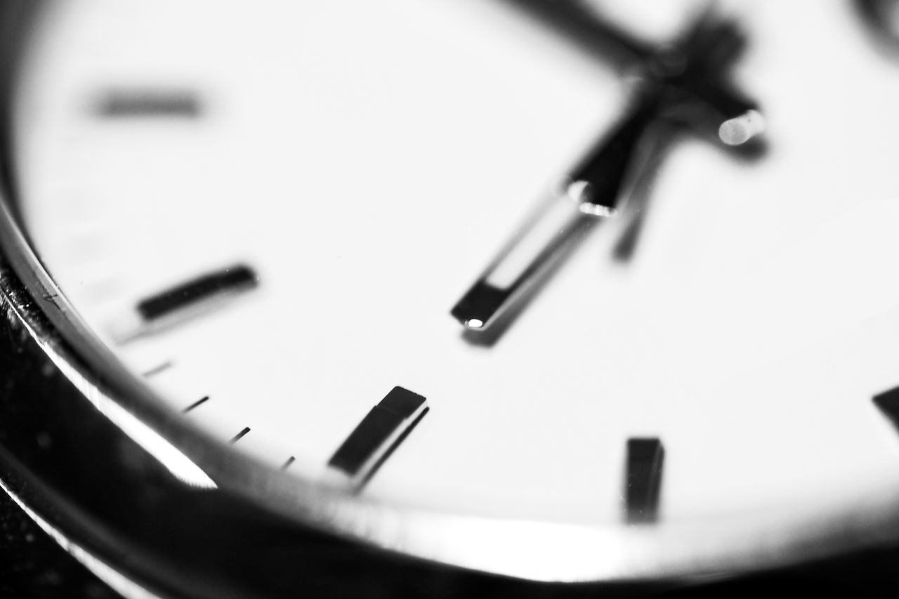 Black Black & White Black And White Blackandwhite Clock Clock Face Clockwise Close Up Contrast Deadline Defocused Differential Focus Extreme Close Up Extreme Close-up Focus On Foreground Indoors  Macro Monochrome Monochrome Photography No People Number Single Object TakeoverContrast Time Watch