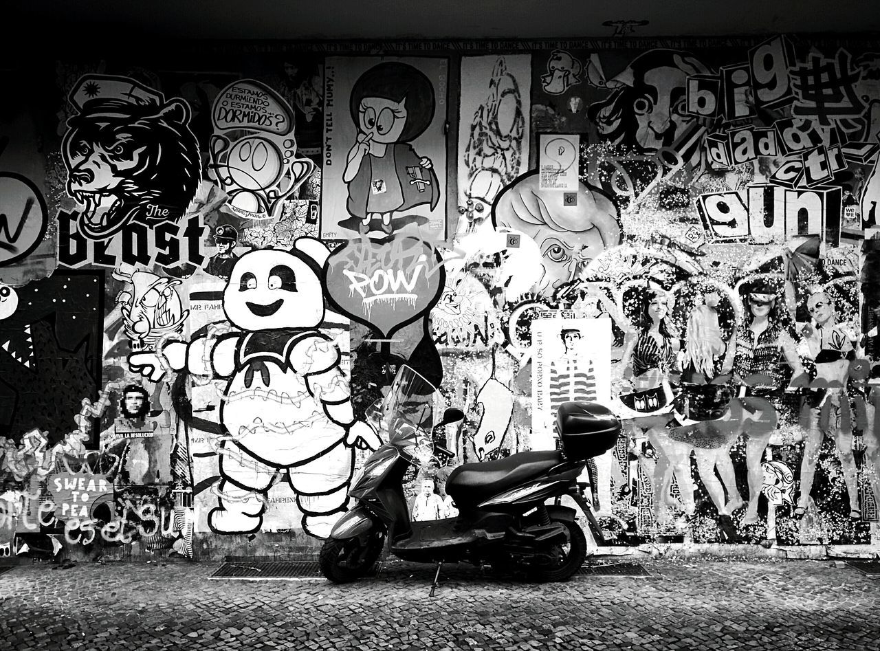 Day 275 - Graffiti Berlin Blackandwhite Streetphotography Streetphoto_bw Graffiti Streetart Scooter 365project 365florianmski Day275