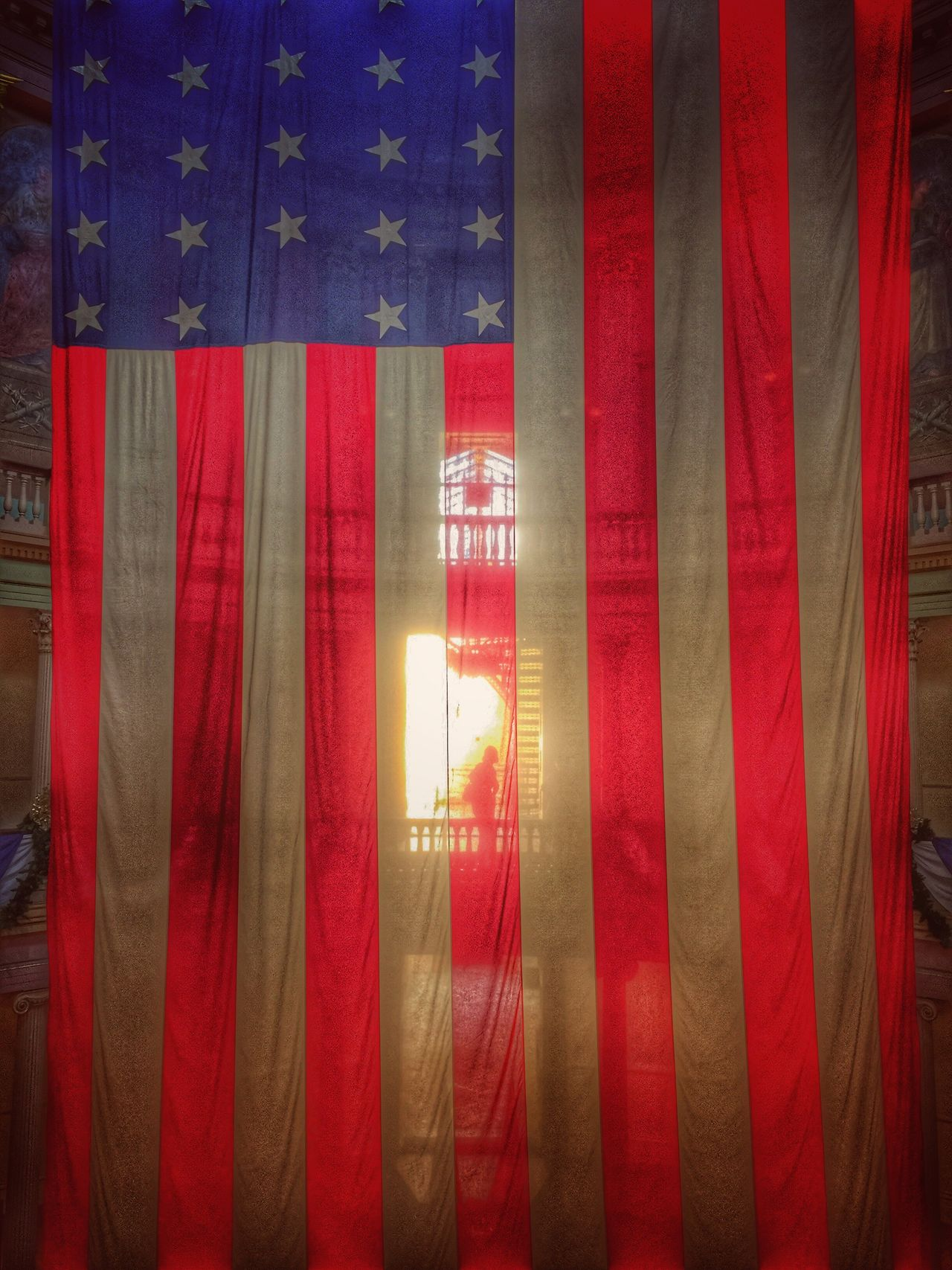 Flag Colors Fourth of July Red Textile Hanging Vibrant Color silhouette Flag Red Color America