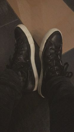 Hanging out with my All Black Leather Converse. Shoe Low Section Real People Human Leg Human Body Part One Person Indoors  High Angle View Pair Men Close-up Lifestyles Canvas Shoe Standing Black Color Day People