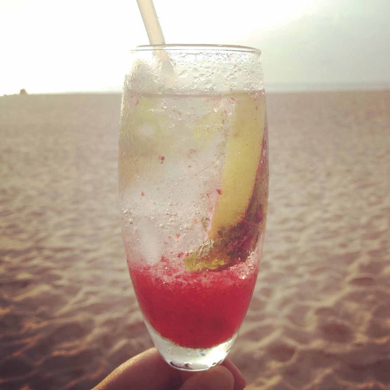 Always Be Cozy Cool drink by the Sea Sand Sun. Refreshment Drinking Glass Drink Cocktail Beachtime