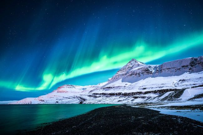 Iceland Snowcapped Mountain Nature Snow Cold Temperature Winter Mountain Beauty In Nature Aurora Borealis