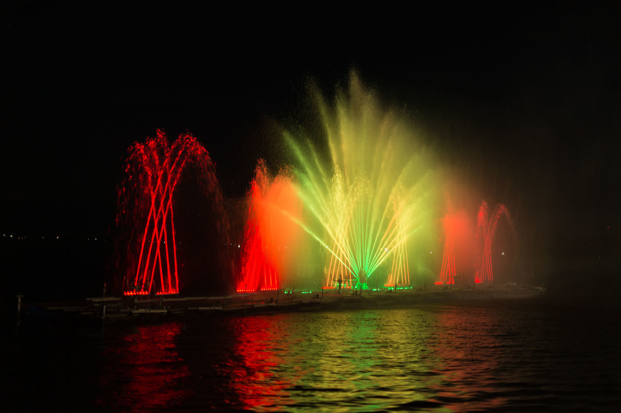 Illuminated Long Exposure Motion Multi Colored Nature Night No People Outdoors Red Sky Water