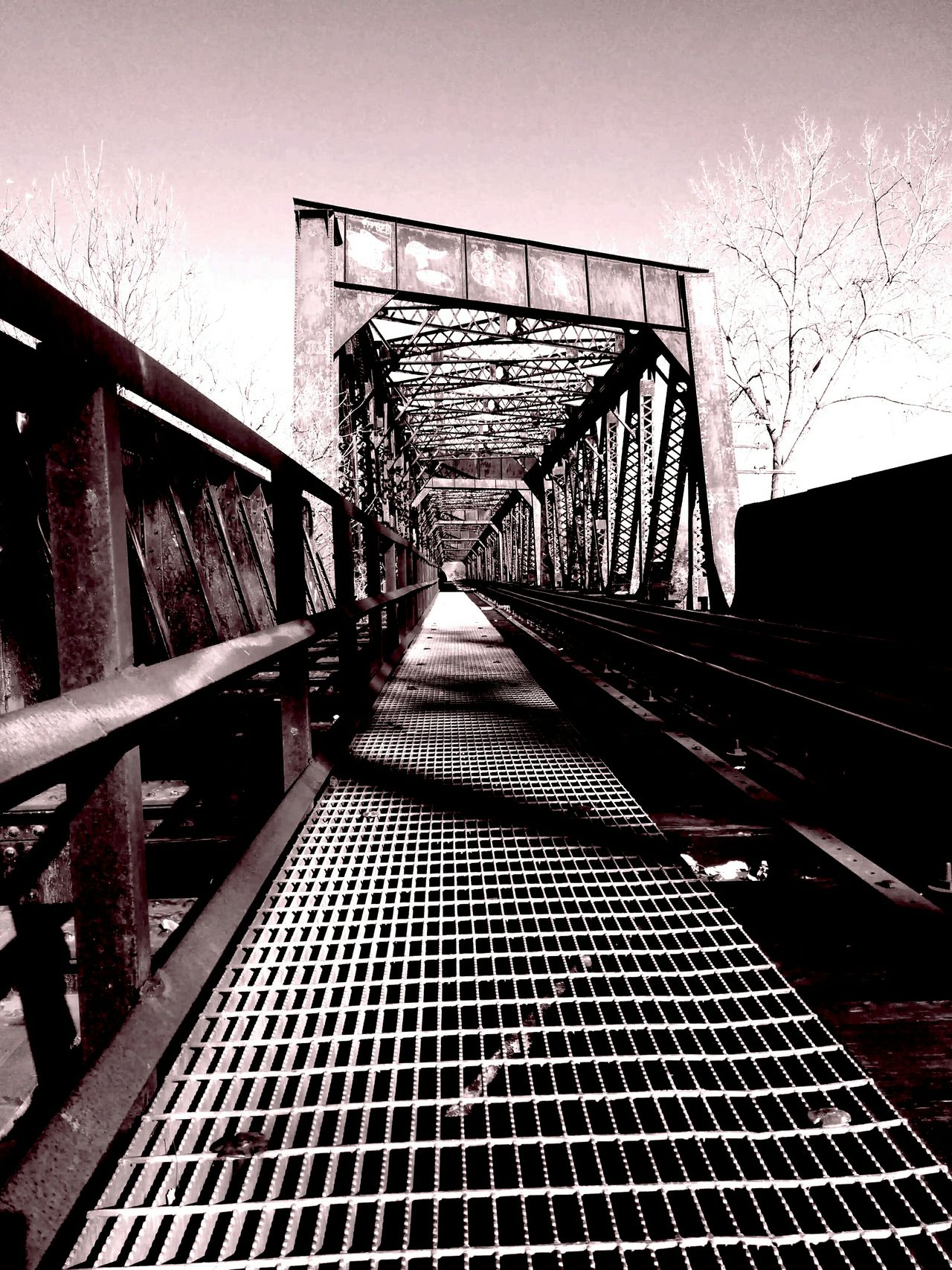 Experimental Edit Bridge Metal Bridge Train Tracks Over The River Vanishing Point Playing With The Shadows