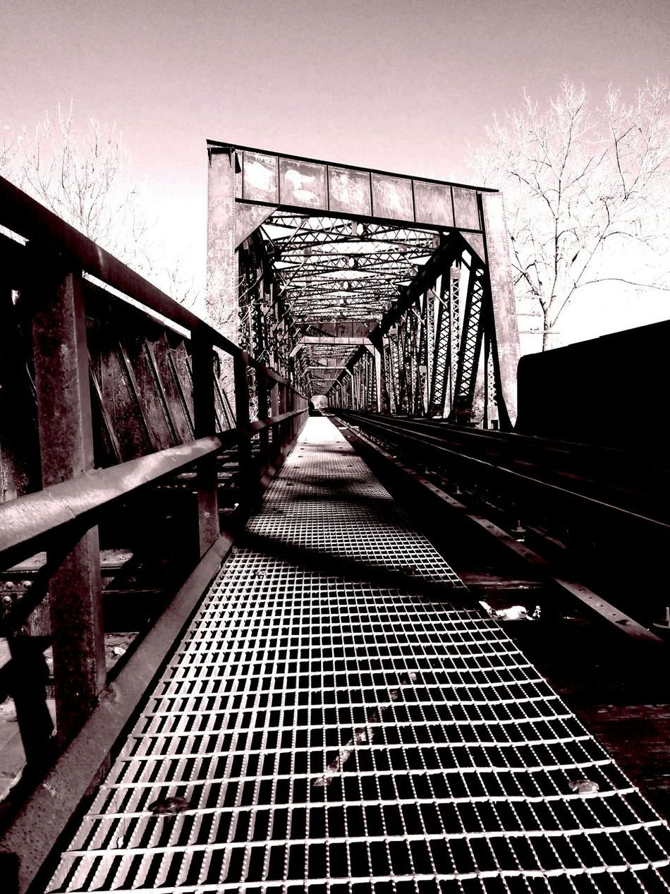 Experimental Edit Bridge Metal Bridge Train Tracks Over The River Vanishing Point Playing With The Shadows
