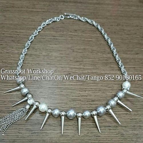 玻璃 珍珠 頸鏈 (只此一條) 長 19.5寸 (49cm) HKD192.00 Whatsapp/WeChat/ChatOn/Line 852 90180165 Accessories birthdaybraceletdiy festival fashion gift hongkongshop handmade jewelry necklace onlineshop pearl workshop節日 禮物