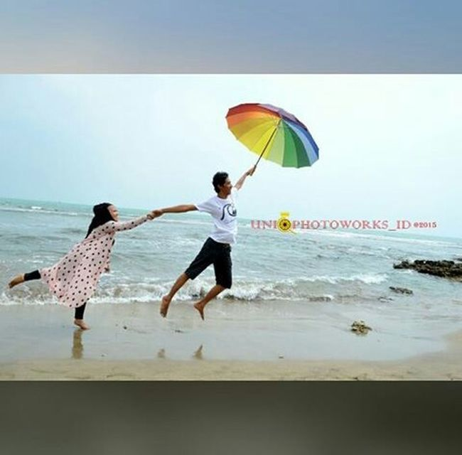 Beach Bantenindonesia Anyerbeach Flying High with Umbrella