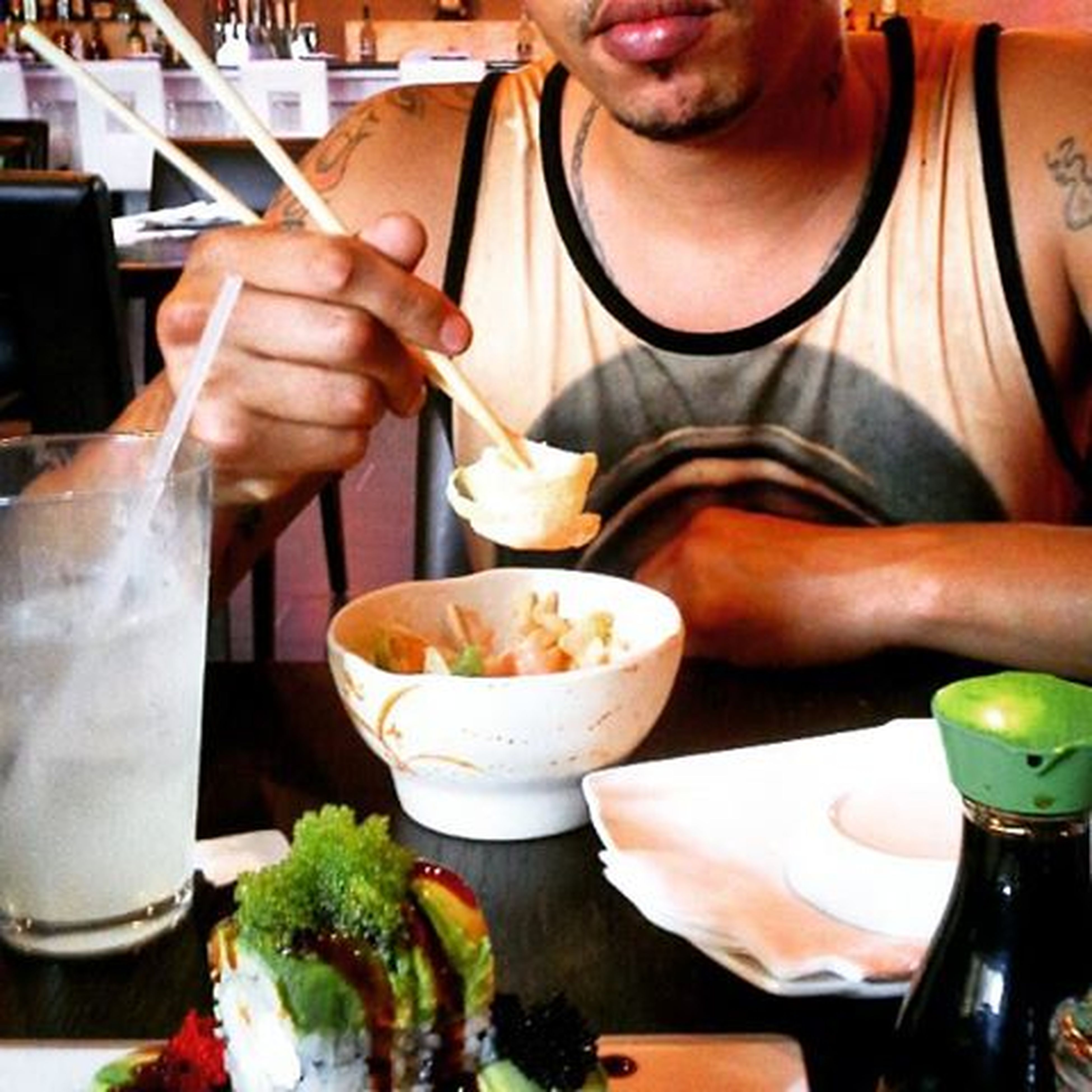 food and drink, food, freshness, indoors, drink, holding, lifestyles, table, refreshment, ready-to-eat, person, restaurant, healthy eating, plate, leisure activity, indulgence, drinking glass, midsection