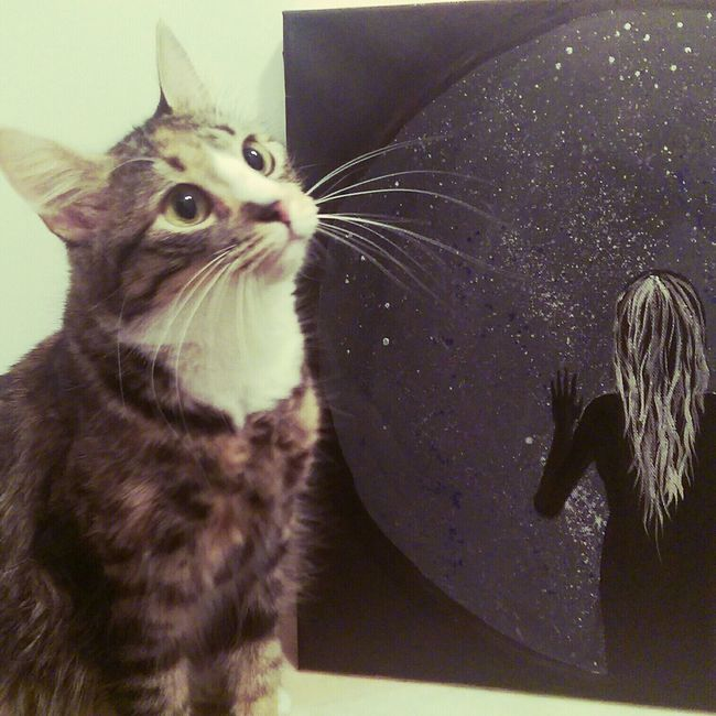 My cat had something to say....she can't really speak but she found my acrylics and we made it work. :)) Personal Work