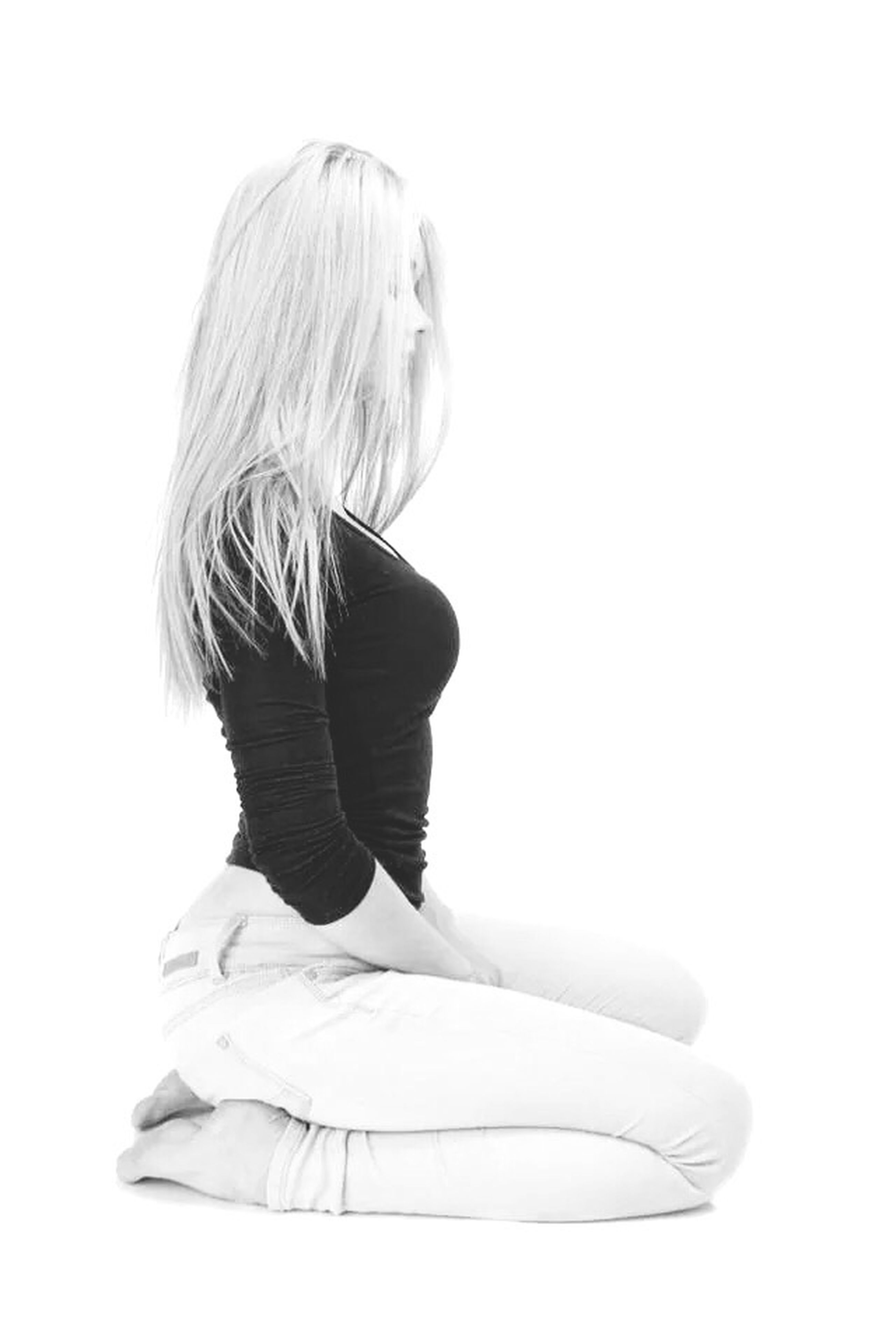 studio shot, white background, lifestyles, casual clothing, long hair, copy space, young adult, waist up, person, leisure activity, young women, three quarter length, rear view, standing, side view, front view, indoors, obscured face