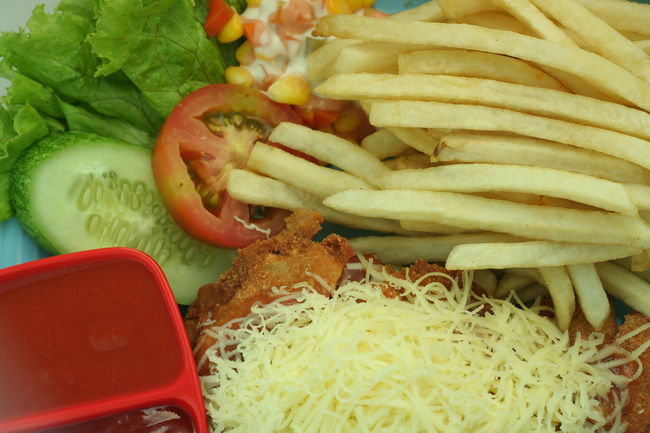 French Fries and Chicken Steak Chicken Steak Food Food And Drink French Fries Meal Plate Ready-to-eat Salad Sauce Temptation Tomato Vegetable