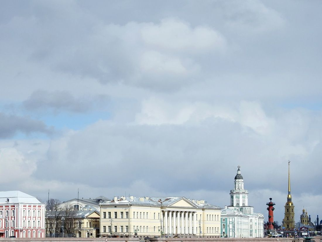 Architecture My City My Love Walking Around Cloud - Sky Sky River My City View Springtime EyeEm Diversity Streetphotography Agriculture Street Photography Urban Skyline EyeEmNewHere Embankment Kunstkamera Rostral Columns Fifty Shades Of Yellow Colors Of Sankt-Peterburg Sankt-Petersburg Russia