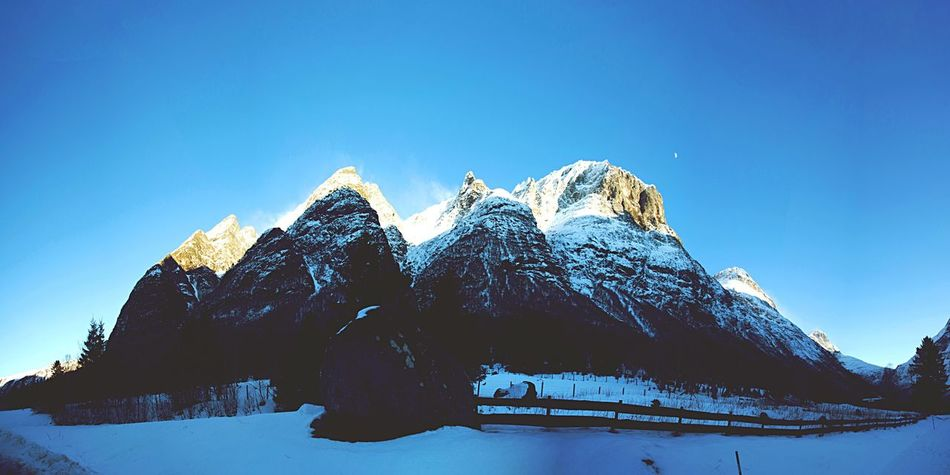 Snow Mountain Winter Nature Mountain Range Snowcapped Mountain Scenics Beauty In Nature Blue Outdoors Clear Sky Landscape Travel Destinations No People Day Andalsnes Trollstigen Camping Norway Norwegian Landscape Panoramic