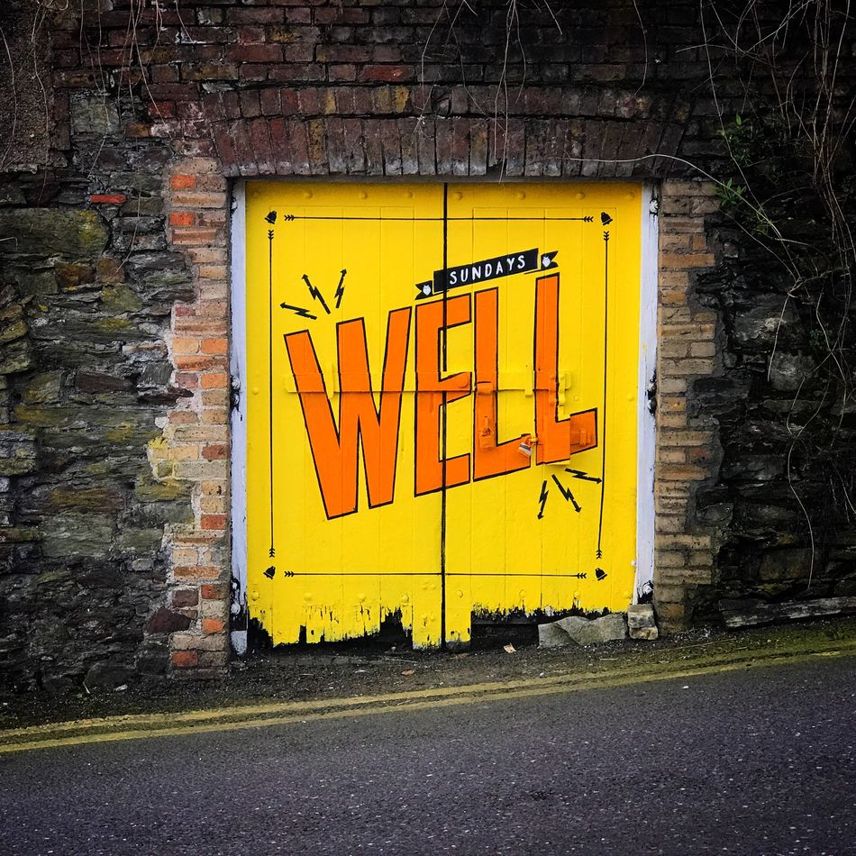 Wall - Building Feature Yellow Text Brick Wall No People Built Structure Art ArtWork Sunday's Well Cork Cork City Ireland