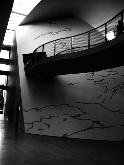 Inside the museum. Architecture Black & White Blackandwhite Built Structure Close-up Day Hanging Walkways Indoors  Inside Photography Modern Modern Architecture Modern Design No People Light And Shadow