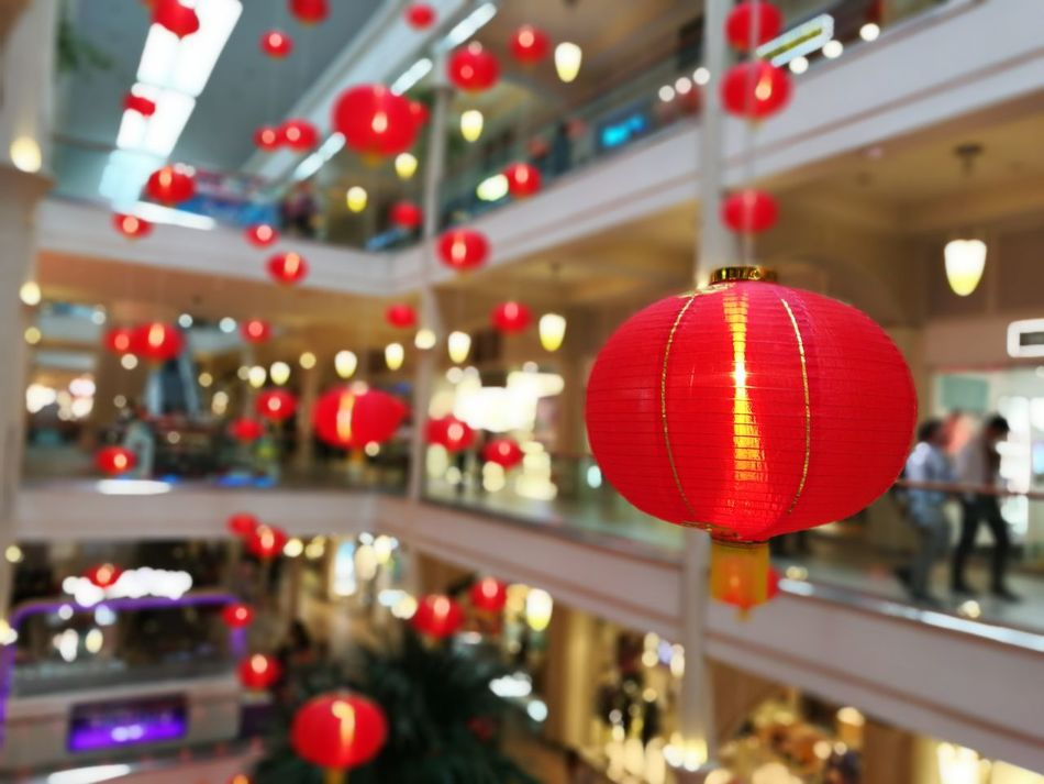 In celebration to Chinese New Year Indoors  Shopping Mall Kung Hei Fat Choi Red Ornaments Chinese Lantern Chinese Style Illuminated