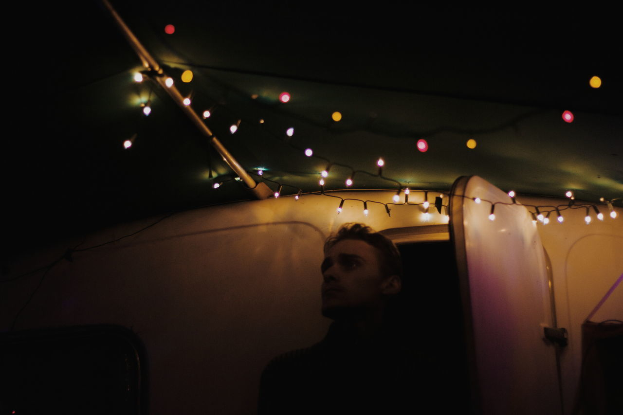 Follow me on instagram: estera_luba people night one person illuminated Adult portrait boy Lights vscocam photography Taking pictures mood photooftheday minimal Travel minimalism VSCO Adult