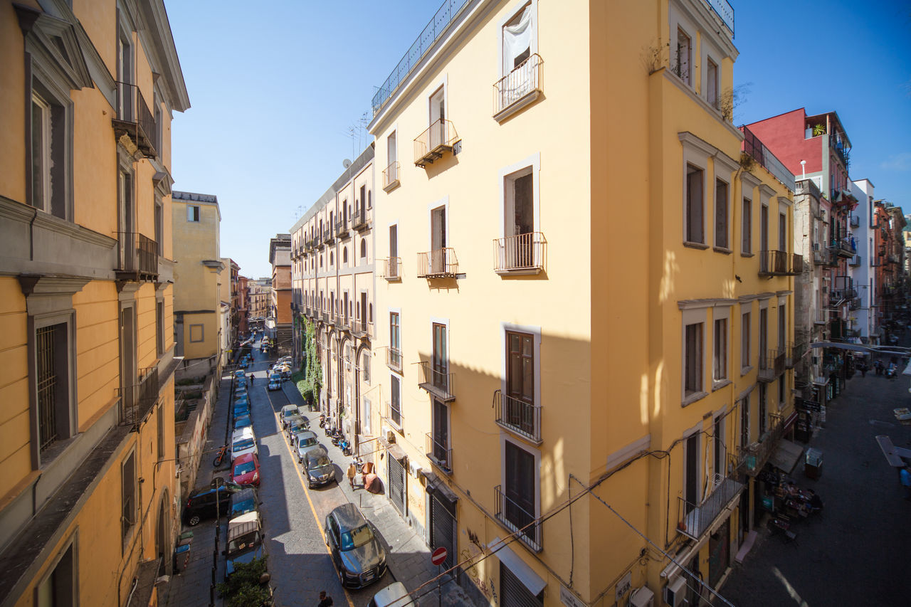 Historical centre in Naples with buildings, high angle of view. Ancient Blue Sky Buongiorno Cars City Life Cityscape Historical Centre Naples, Italy Napoli People Street View From Above