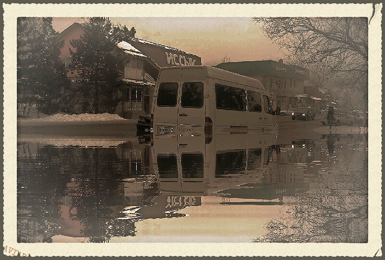 reflection, water, tree, transportation, outdoors, day, building exterior, architecture, built structure, no people, sky, nature