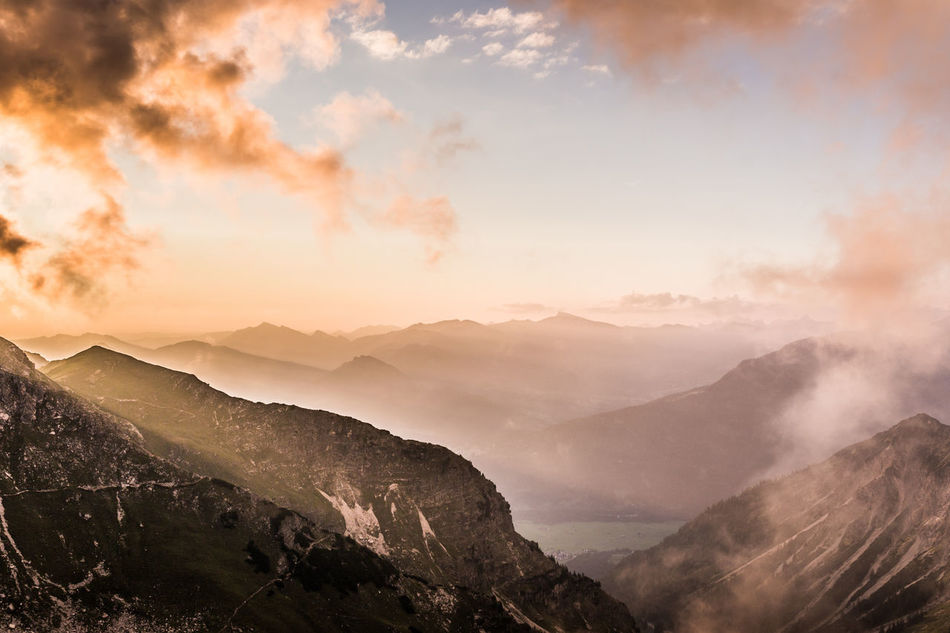 Allgäu Alps Beauty In Nature Berge Cloud Cloudy Sky Day Fog Landscape Mountain Mountain View Mountains Nature No People Outdoors Scenics Silence Sky Skyscape Sonnenuntergang Sunset Sunset_madness Tal Tranquility Tree Area