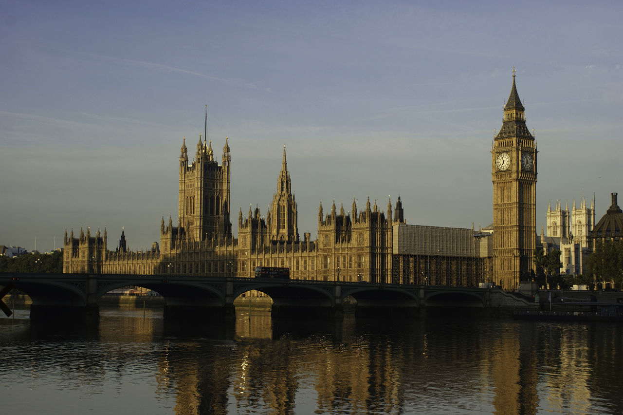 Westminster Morning Architecture Bridge - Man Made Structure Building Exterior City Cityscape Clock Tower Government London No People Outdoors Politics And Government River Sky The City Light Tower Travel Destinations Water