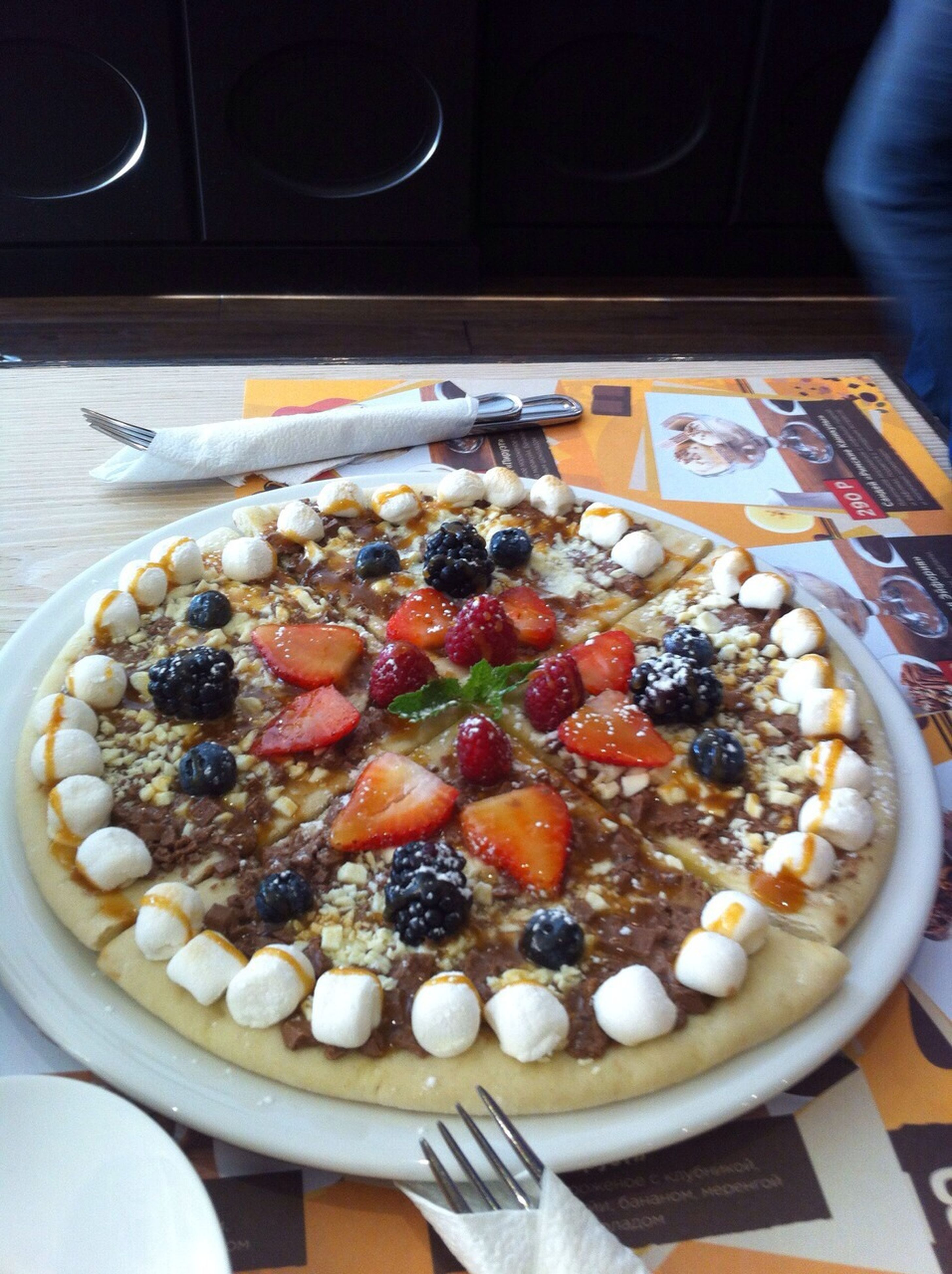 food and drink, food, indoors, freshness, ready-to-eat, plate, sweet food, indulgence, dessert, unhealthy eating, table, still life, close-up, serving size, high angle view, temptation, pizza, bowl, meal