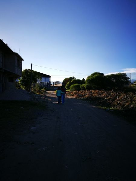 My Year My View Walking Sisters Road Real People Clear Sky Walking People Rear View Love Photography Today's Pic Quetzaltenango