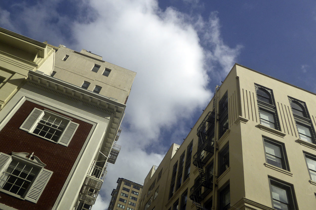 Apartments Architecture Building Exterior Built Structure Business Building City Cloud - Sky Day Looking Up Lookingup Low Angle View No People Outdoors Residential Building San Francisco San Francisco, California Sky Window