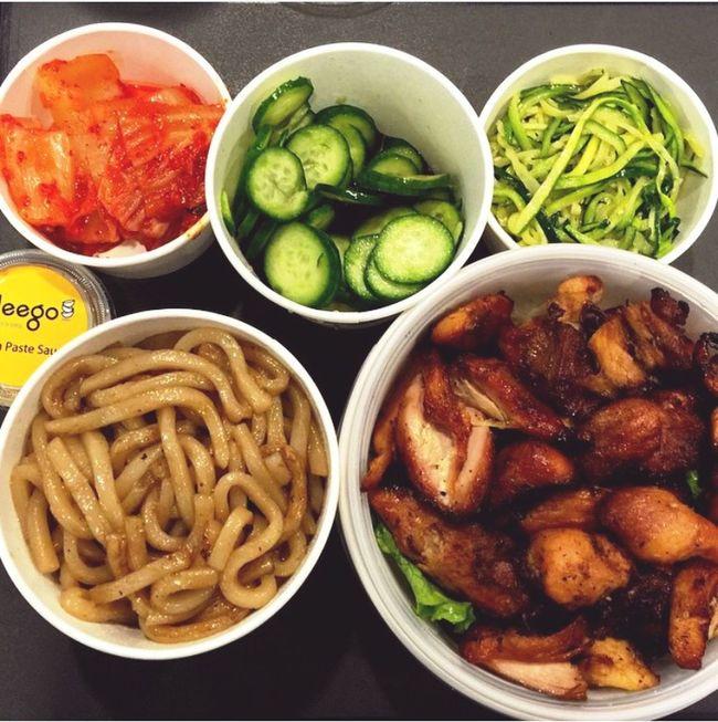 Korean Food Ramen Vegetables Chiken Korea Food Sun Eating